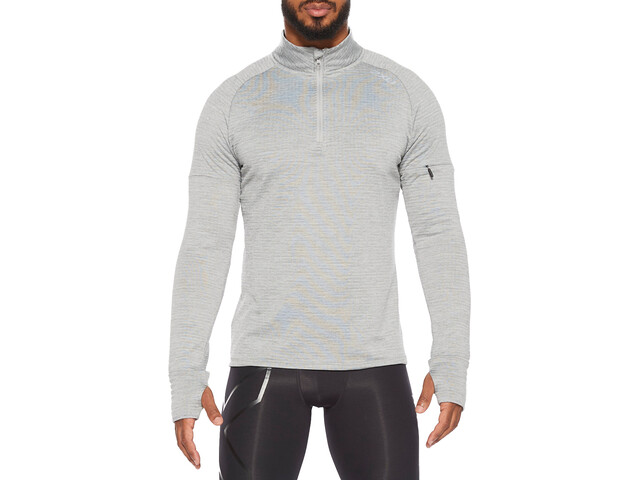2XU Pursuit Thermal Longsleeve Shirt met 1/4 rits Heren, grey marle/silver reflective